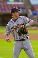 Burlington Bees third baseman Tim Millard (25) warms up in the outfield prior to a Midwest League game against the Wisconsin Timber Rattlers on August 3, 2018 at Fox Cities Stadium in Appleton, Wisconsin. Wisconsin defeated Burlington 5-4. (Brad Krause/Four Seam Images)