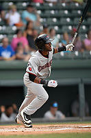 Right fielder Franklin Rollin (40) of the Hickory Crawdads bats in a game against the Greenville Drive on Sunday, July 16, 2017, at Fluor Field at the West End in Greenville, South Carolina. Hickory won, 3-1. (Tom Priddy/Four Seam Images)