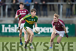 Kerry's  Conor Geaney and Galway's Liam Kelly in action during the Kerry V Galway Under 21 Football Championship semi final at Cusack Park, Ennis on Sunday. Photograph by Eamon Ward