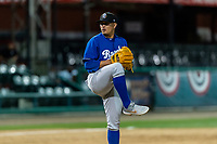 Rancho Cucamonga Quakes relief pitcher Victor Gonzalez (48) during a California League game against the Visalia Rawhide on April 8, 2019 in Visalia, California. Rancho Cucamonga defeated Visalia 4-1. (Zachary Lucy/Four Seam Images)