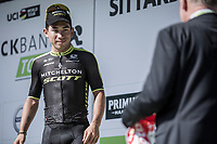 Podium: Caleb Ewan (AUS/Mitchelton Scott) receiving the red jersey as leader in the point classification. <br /> <br /> Binckbank Tour 2018 (UCI World Tour)<br /> Stage 6: Riemst (BE) - Sittard-Geleen (NL) 182,2km