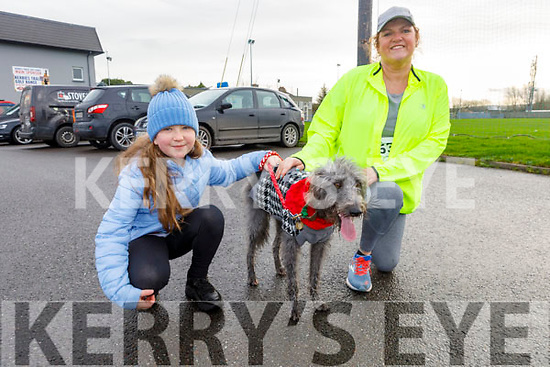 At the Charlie Kerins 10k in Kerins O'Rahilly's on Sunday morning<br /> L to r: Eden Ryan, Louise Porter and Tipp the dog.