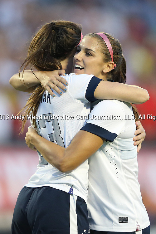 10 November 2013: Erika Tymrak (USA) (left) celebrates her goal with Alex Morgan (USA) (right). The United States Women's National Team played the Brazil Women's National Team at the Citrus Bowl in Orlando, Florida in an international friendly soccer match.