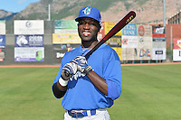 Devan Ahart (6) of the Ogden Raptors poses for a photo during media day on June 14, 2014 at Lindquist Field in Ogden, Utah. (Stephen Smith/Four Seam Images)