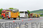The scene near Newcastlewest last Monday where a bus caught fire on the N21 Limerick- Tralee Road