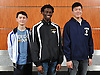 The 2016 Newsday All-Long Island varsity boys fencing team poses for a group picture at company headquarters on Wednesday, Mar. 30, 2016. From left: Bennett Cohen - Jericho, Gevaughn Henry - Brentwood and William Lee - Wheatley.