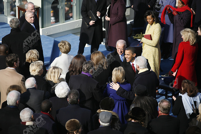 Inauguration of Barack Obama as the 44th President of the United States of America, President-elect Barack Obama and VP Joe Biden greet former Presidents George Bush and Bill Clinton. Washington, D.C., January 20, 2009