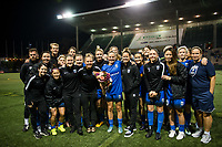 Seattle, WA - Sunday, September 24th, 2017: Elli Reed celebrates her last home game with her teammates after a National Women's Soccer League (NWSL) match between the Seattle Reign FC and FC Kansas City at Memorial Stadium.