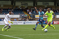 Sammie Szmodics of Colchester United drives in on goal during the Sky Bet League 2 match between Wycombe Wanderers and Colchester United at Adams Park, High Wycombe, England on 27 August 2016. Photo by Liam McAvoy.