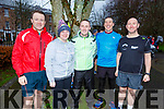 Joe Costelloe, Michelle Walsh, Tommy Commane, Chris Larkin and Mike Brosnan from Tralee at the fourth anniversary of the Tralee Park Run in the the Town Park on Saturday morning.