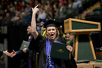 Jamie Logan, B.A. Sociology, receives her degree during UAA's Fall 2018 Commencement Ceremony at the Alaska Airlines Center.