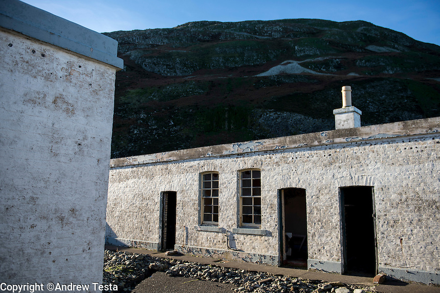Scotland. Ailsa Craig . 10th November 2013<br /> An abandoned building on Ailsa Craig.<br /> &copy;Andrew Testa for the New York Times