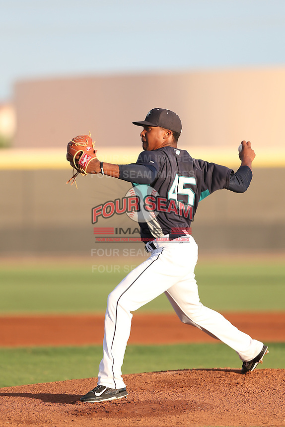 Jeremiah Muhammad #45 of the AZL Mariners pitches against the AZL Giants at the Peoria Sports Complex on July 10, 2014 in Peoria, Arizona. AZL Giants defeated the AZL Mariners, 8-4. (Larry Goren/Four Seam Images)