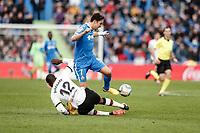 8th February 2020; Coliseum Alfonso Perez, Madrid, Spain; La Liga Football, Club Getafe Club de Futbol versus Valencia; Jaime Mata (Getafe CF) slide tackled by Mouctar Diakhaby (Valencia CF)