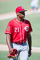Cincinnati Reds pitcher Hunter Greene (21) walks off the field between innings of an Instructional League game against the Kansas City Royals October 2, 2017 at Surprise Stadium in Surprise, Arizona. (Zachary Lucy/Four Seam Images)