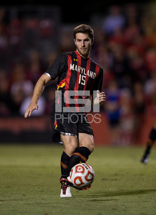 Patrick Mullins (15) of Maryland passes the ball during the game at Ludwig Field on the campus of the University of Maryland in College Park, MD.  Maryland defeated Pittsburgh, 2-0.