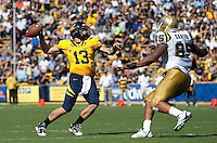 Kevin Riley throws the ball. The California Golden Bears defeated the UCLA Bruins 35-7 at Memorial Stadium in Berkeley, California on October 9th, 2010.