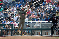 Vanderbilt Commodores first baseman Julian Infante (22) makes a catch during Game 3 of the NCAA College World Series against the Louisville Cardinals on June 16, 2019 at TD Ameritrade Park in Omaha, Nebraska. Vanderbilt defeated Louisville 3-1. (Andrew Woolley/Four Seam Images)