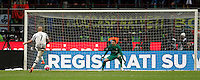 Calcio, Coppa Italia: semifinale di ritorno Inter vs Juventus. Milano, stadio San Siro, 2 marzo 2016. <br /> Juventus&rsquo;s Simone Zaza, left, scores against FC Inter&rsquo;s goalkeeper Samir Handanovic during a penalty shootout during the Italian Cup second leg semifinal football match between Inter and Juventus at Milan's San Siro stadium, 2 March 2016.<br /> UPDATE IMAGES PRESS/Isabella Bonotto