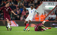 Kyle Walker-Peters (Tottenham Hotspur) of England U21 on a run through the Latvia defence during the UEFA EURO U-21 First qualifying round International match between England 21 and Latvia U21 at the Goldsands Stadium, Bournemouth, England on 5 September 2017. Photo by Andy Rowland.