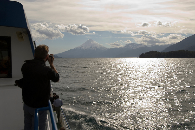Chile, Lake Country: View of Osorno Volcano while riding across Lake Todos Los Santos..Photo #: ch637-33987..Photo copyright Lee Foster www.fostertravel.com, lee@fostertravel.com, 510-549-2202.