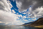 Clouds remain from forming summer storms over the Wassuk Range on the east shore of Walker Lake, Nevada