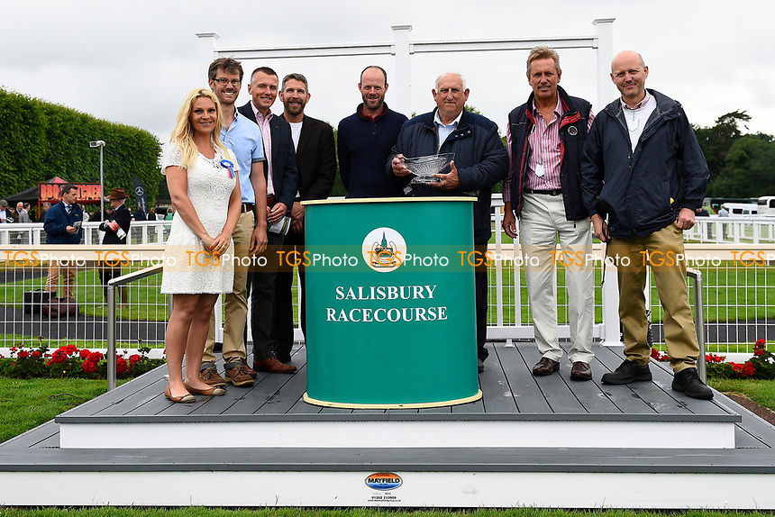 Connections of Veejay and sponsors  of The New Forest Farm Machinery/John Deere Auction Stakes, during Whitsbury Manor Stud Bibury Cup Day Racing at Salisbury Racecourse on 28th June 2017