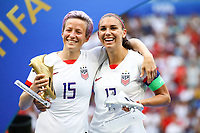 Celebration Megan Rapinoe (USA) et Alex Morgan (USA) meilleure Goaleuse et joueuse trophee Adidas<br /> Lyon 07/07/2019<br /> Football Womens World Cup Final <br /> United States - Netherlands <br /> Photo  Gwendoline LeGoff / Panoramic/Insidefoto <br /> ITALY ONLY