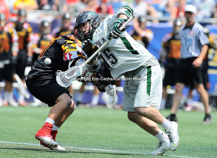 MAY 28 2012  Loyola Maryland Greyhounds midfielder J.P. Dalton #45 in action at the NCAA Division I Lacrosse Championship game between Loyola and Maryland at Gillette Stadium in Foxborough, Massachusetts. Eric Canha/CSM
