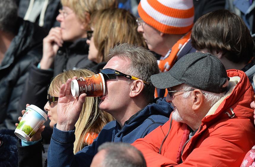 Fans during the game<br /> <br /> Photographer Dave Howarth/CameraSport<br /> <br /> Football - The Football League Sky Bet League One - Fleetwood Town v Blackpool - Saturday 23rd April 2016 - Highbury Stadium - Fleetwood  <br /> <br /> &copy; CameraSport - 43 Linden Ave. Countesthorpe. Leicester. England. LE8 5PG - Tel: +44 (0) 116 277 4147 - admin@camerasport.com - www.camerasport.com