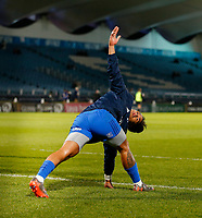 p28th February 2020; RDS Arena, Dublin, Leinster, Ireland; Guinness Pro 14 Rugby, Leinster versus Glasgow; Joe Tomane of Leinster warms up prior to kickoff
