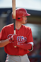 Philadelphia Phillies Cole Stobbe (7) at bat during a Florida Instructional League game against the New York Yankees on October 11, 2018 at Yankee Complex in Tampa, Florida.  (Mike Janes/Four Seam Images)