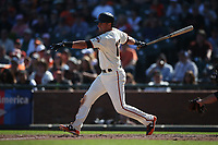 SAN FRANCISCO, CA - SEPTEMBER 17:  Joe Panik #12 of the San Francisco Giants bats against the Arizona Diamondbacks during the game at AT&T Park on Sunday, September 17, 2017 in San Francisco, California. (Photo by Brad Mangin)