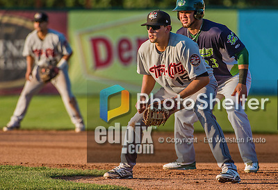 1 September 2014: Tri-City ValleyCats catcher Ricky Gingras playing first base against the Vermont Lake Monsters at Centennial Field in Burlington, Vermont. The ValleyCats defeated the Lake Monsters 3-2 in NY Penn League action. Mandatory Credit: Ed Wolfstein Photo *** RAW Image File Available ****