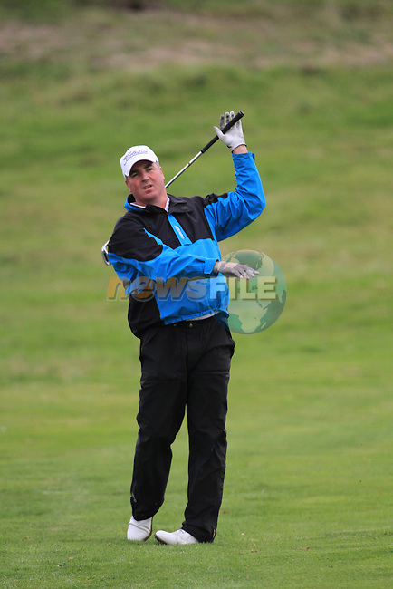 Day 3 of the 100th Irish PGA championship at Seapoint Golf Club, Co Louth..Damien Mooney playing for the 16th green.Picture Fran Caffrey/www.golffile.ie.