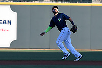 Second baseman Michael Paez (3) of the Columbia Fireflies plays defense in a game against the Lexington Legends on Thursday, June 8, 2017, at Spirit Communications Park in Columbia, South Carolina. Columbia won, 8-0. (Tom Priddy/Four Seam Images)