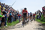 Frederik Frison (BEL) Loto-Soudal leads the peleton on one of the pave sectors during the 116th edition of Paris-Roubaix 2018. 8th April 2018.<br /> Picture: ASO/Pauline Ballet | Cyclefile<br /> <br /> <br /> All photos usage must carry mandatory copyright credit (&copy; Cyclefile | ASO/Pauline Ballet)