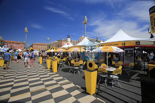 The Tour Village on Place Massena before Stage 4 of the 100th Edition of the Tour de France 2013 a 25k Team Time Trial around Nice. 2nd July 2013.<br /> (Photo: Eoin Clarke/ www.newsfile.ie)