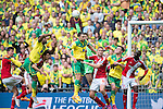 Norwich City 2 Middlesbrough 0, 25/05/2015. Wembley Stadium, Championship Play Off Final. Dimitrios Konstantopoulos punches clear a Norwich corner. A match worth £120m to the victors. On the day Norwich City secured an instant return to the Premier League with victory over Middlesbrough in front of 85,656. Photo by Simon Gill.