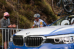 Julian Alaphilippe (FRA) Deceuninck-Quick Step chats with the team car as he summits the Col de Peyresourde during Stage 8 of Tour de France 2020, running 141km from Cazeres-sur-Garonne to Loudenvielle, France. 5th September 2020. <br /> Picture: Colin Flockton | Cyclefile<br /> All photos usage must carry mandatory copyright credit (© Cyclefile | Colin Flockton)