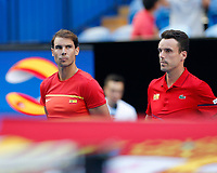 4th January 2020; RAC Arena, Perth, Western Australia; ATP Cup Australia, Perth, Day 2; Spain versus Georgia; Rafael Nadal and and Roberto Bautista Agut of Spain lines up for the National Anthem - Editorial Use