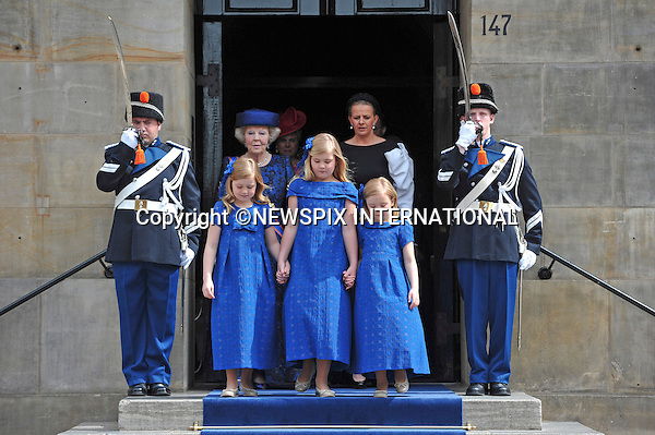 """30.04.2013; Amsterdam: KING WILLEM-ALEXANDER AND QUEEN MAXIMA.Princess Beatrix and Princess Mabel walk together with Princess Alexia (left) Crown Princess Catharina-Amalia, and Princess Ariane (right) to the Nieuwe Kerk, Amsterdam, The Netherlands, for the inauguration of King Willem-Alexander..Mandatory Credit Photos: ©Court/NEWSPIX INTERNATIONAL..**ALL FEES PAYABLE TO: """"NEWSPIX INTERNATIONAL""""**..PHOTO CREDIT MANDATORY!!: NEWSPIX INTERNATIONAL(Failure to credit will incur a surcharge of 100% of reproduction fees)..IMMEDIATE CONFIRMATION OF USAGE REQUIRED:.Newspix International, 31 Chinnery Hill, Bishop's Stortford, ENGLAND CM23 3PS.Tel:+441279 324672  ; Fax: +441279656877.Mobile:  0777568 1153.e-mail: info@newspixinternational.co.uk"""