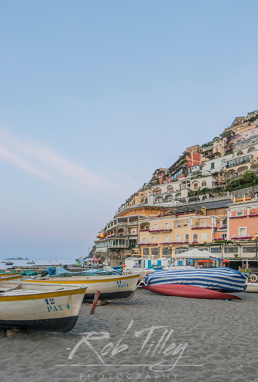Europe, Italy, Amalfi Coast, Positano Beach at Dawn