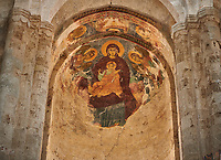 Pictures & images of the medieval  fresco of the Madonna and Child Alaverdi St George Cathedral & monastery complex, 11th century, near Telavi, Georgia (country). <br /> <br /> At 50 meters high Alaverdi St George Cathedral was once the highest cathedral in Georgia (now its the nes Tblisi cathedral). The cathedral is part of a Georgian Orthodox monastery founded by the monk Joseph [Abba] Alaverdeli, who came from Antioch and settled in Alaverdi. On the UNESCO World Heritage Site Tentative List.