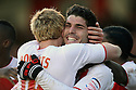 Dani Lopez of Stevenage (r) celebrates scoring his second goal with Mark Roberts. Stevenage v Sheffield United - npower League 1 -  Lamex Stadium, Stevenage - 16th March, 2013. © Kevin Coleman 2013.. . . .
