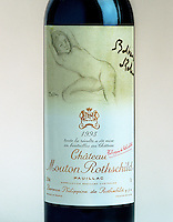 Rare and original bottles of Chateau Mouton Rothschild red wine with the label and artwork designed by the famous artist Balthus