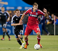 Santa Clara, California - Saturday July 28, 2012: Chicago Fire's Hunter Jumper and San Jose Earthquakes' Sam Garza in action during a game at Buck Shaw Stadium, Stanford, Ca    San Jose Earthquakes and Chicago Fire tied 0 - 0