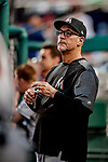 26 September 2018: Miami Marlins Bench Coach Tim Wallach in the dugout during a game against the Washington Nationals at Nationals Park in Washington, DC. The Nationals defeated the visiting Marlins 9-3, closing out Washington's 2018 home season. Mandatory Credit: Ed Wolfstein Photo *** RAW (NEF) Image File Available ***