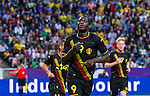 Solna 2014-06-01 Fotboll Landskamp , Sverige - Belgien :  <br /> Belgiens Romelu Lukaku jublar efter sitt 1-0 m&aring;l i den f&ouml;rsta halvleken<br /> (Photo: Kenta J&ouml;nsson) Keywords:  Sweden Sverige Friends Arena Belgium Belgien jubel gl&auml;dje lycka glad happy
