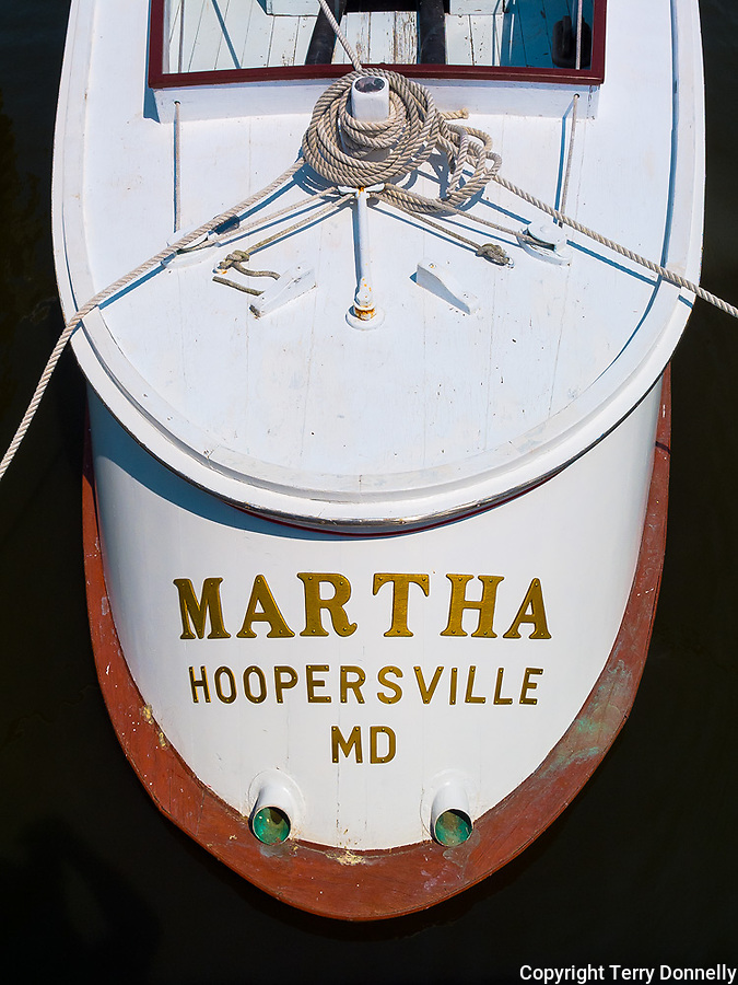 """Chesapeake Bay Maritime Museum, St. Michaels, Maryland<br /> Stern view of the historic 1934 wood oyster boat """"Martha"""""""